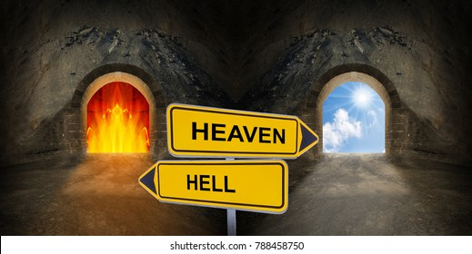 Two gates to heaven and hell. Life crossroad and choice concept.