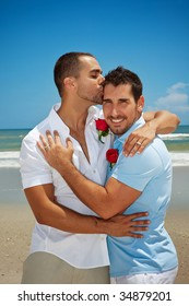 Two gay man in after wedding ceremony