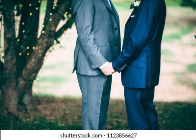 Two gay men holding hands on their wedding day