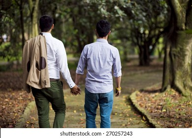 Two gay men on a romantic walk