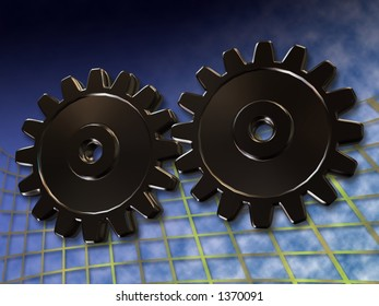 two gears on grid background