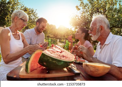 Two generation family having a garden party in the summer.