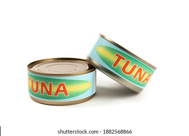 Two generic labelled food cans of tuna fish isolated on white