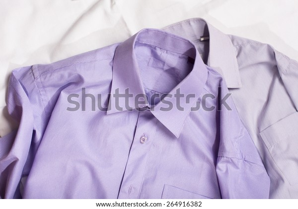 two generic shirt with a line pattern, closeup