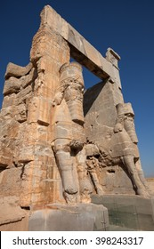 Two giant Lamassus giarding the Gate of All Nations in the ruins of ancient Persepolis, capital of Achaemenid Empire in Shiraz, Iran.