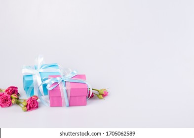 Two gift boxes blue and pink color with ribbon bow and fresh red roses on white background