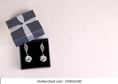 Two gift boxes for jewelry on a white background. top view. gift concept.