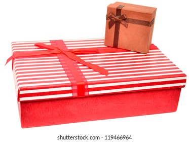 Two gift boxes with presents paper, isolated on white