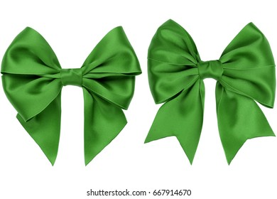 Two gift green bow with tails on white background