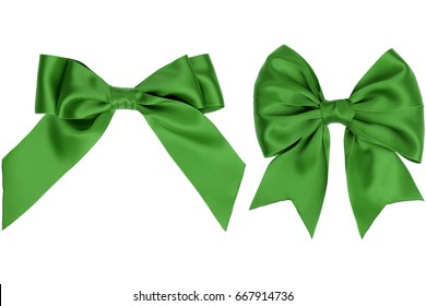 Two gift green satin bow with tails on white background