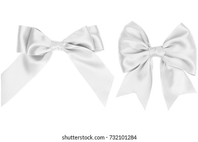 Two gift white bow with tails on white background