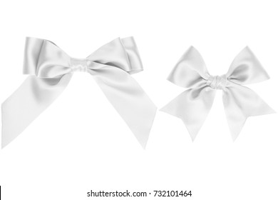 Two gift white satin bow with tails on white background