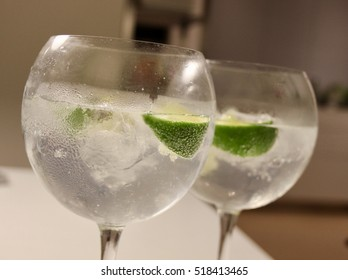 Two Gin & Tonics with lime