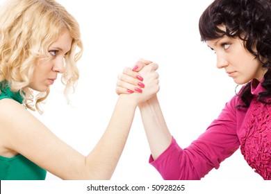 two girl arm wrestling