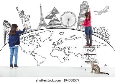 two girl kids drawing global map and famous landmark