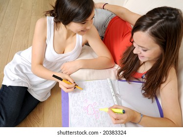 Two girl study together using a mind map