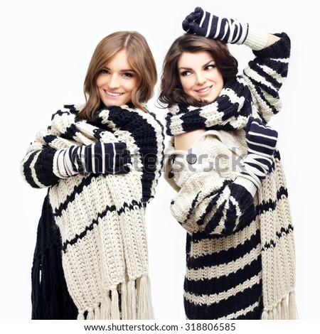 Two Girl Wearing Knit Hat Scarf Stock Photo Edit Now 318806585