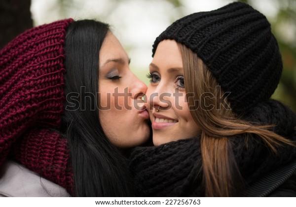 two girlfriends in an autumn forest / Girlfriends
