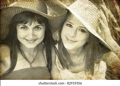 Two girlfriends at outdoor. Photo in old image style.