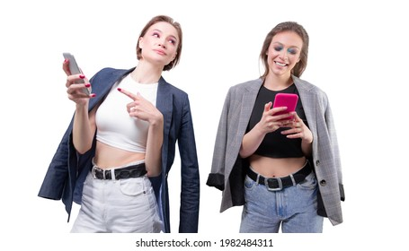 Two girlfriends are texting on their smartphones and laughing. Bloggers concept. Gossips. Mixed media