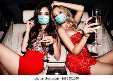 Two girlish face mask in the car