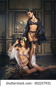 Two girls in bathrobe and lingerie