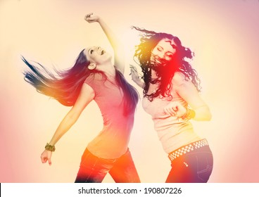 two girls dancing, retro light leak design