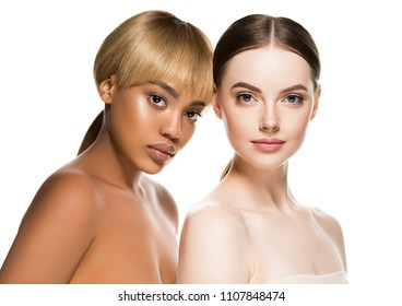 Two girls Different races woman beauty portrait isolated on white african model and caucasian female