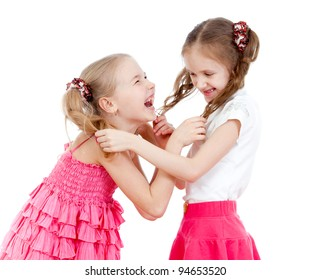 Two girls fighting over  white background