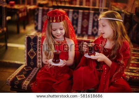 Two Girls Folk Arabic Costumes Drinking Stock Photo Edit Now