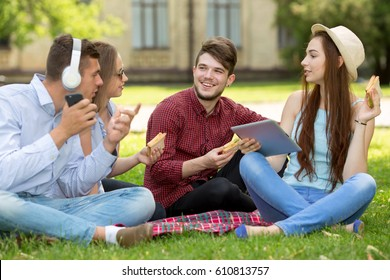 Two girls and two guys. A group of young people sitting on the green grass have fun. Picnic on the green lawn of the campus.