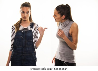 two girls having hard talk, polemic and argue between friends, sisters or soommate concept