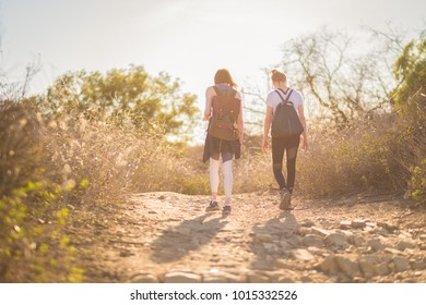 Two girls hiking in California