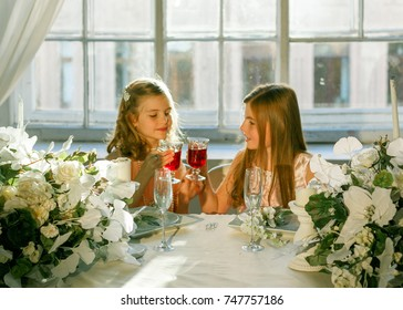 Two girls at the holiday table