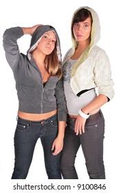 Two girls in hoods