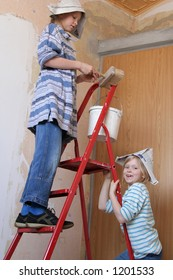 Two girls and a ladder