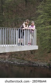 Two girls at the observation platform