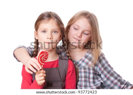 Two Girls With One Lollipop Sweets
