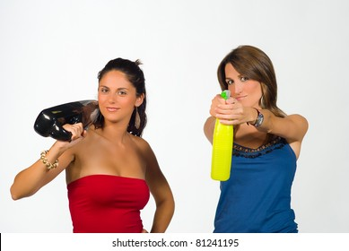 Two girls playing super agents with household equipment