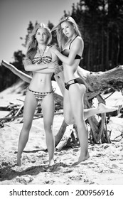 Two girls posing on the beach, summer day
