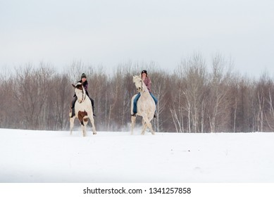 two girls riding horse bareback. Winter scene with snow and trees in background