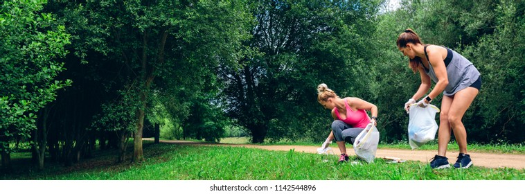 Two girls running with bags doing plogging outdoors