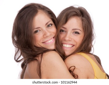 Two girls sisters - GEMINI on a white background
