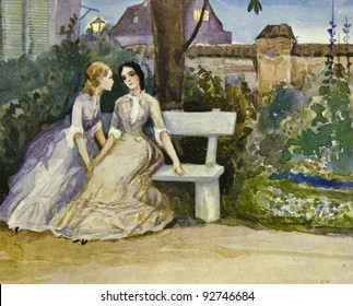 """Two girls sitting on bench. Illustration by artist Zahar Pichugin from book """"Leo Tolstoy """"Anna Karenina"""", publisher - """"Partnership Sytin"""", Moscow, Russia, 1914."""
