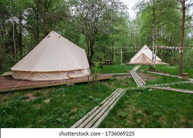 Two glamping camp tents and wooden nature boardwalk in spring green forest of Pleshcheyevo Ozero National Park