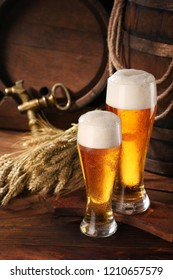 Two glass of beer .With wheat and barley and barrels spikes on bakcground.Still life.Copy space