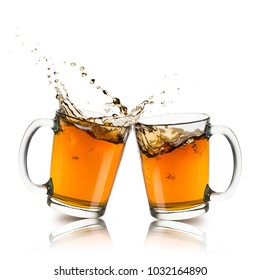 two glass cup of tea touching and splashing on white background