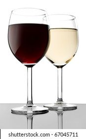 Two glass with red and white wines