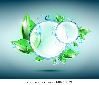 Two glass spheres with leaves and blue drops