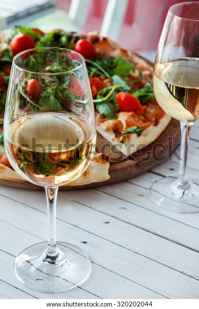 Two Glass White Wine Pizza On Stock Photo Edit Now 320202044